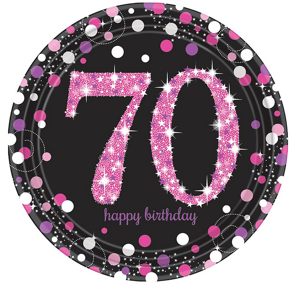 Pink Celebration 70th Birthday Paper Plate 8 Pk