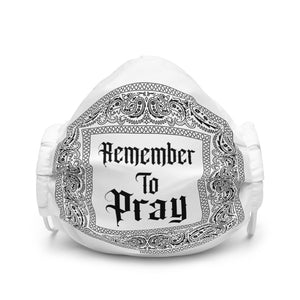 Remember To Pray Face Mask - White Paisley