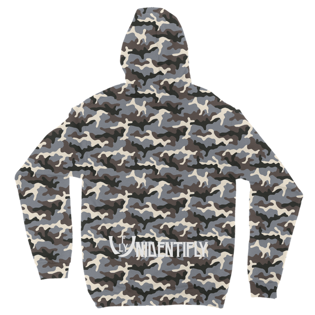 WHite logo Camouflage Adult Hoodie - UNIDENTIFLY
