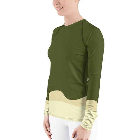 Olive Cactus Women's Rash Guard - UNIDENTIFLY