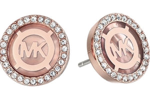 4cf33d791 Michael Kors, Mother of Pearl MOP Monogram Pave Stud Earrings, Rose Gold  Tone Blush