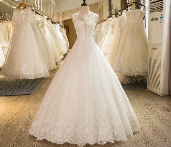 A-Line Sleeveless Tulle Lace Appliques Wedding Dress