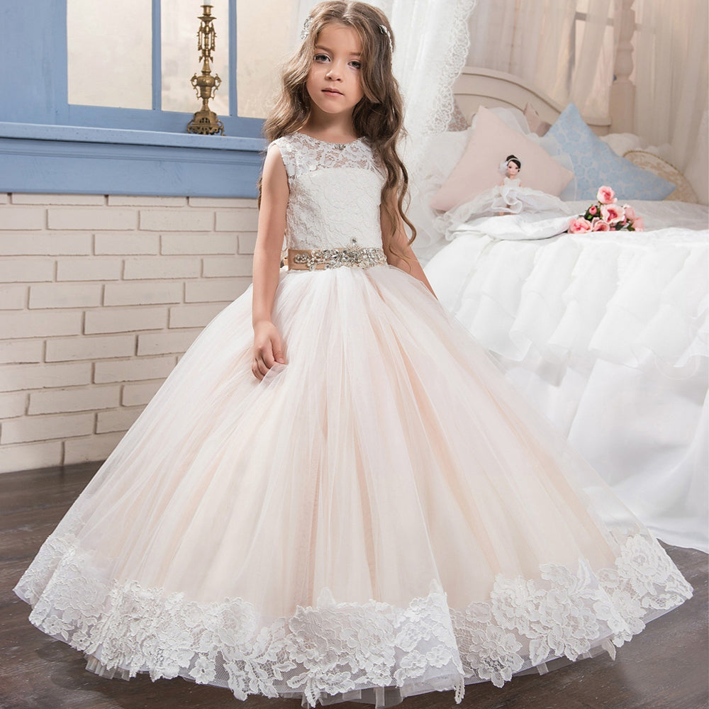 Custom Made Gown Flower Girl Handmade Dress Girls Ball Gown O-neck  Back Button Crystal First Flower Girl Dress