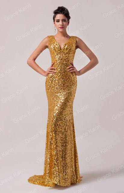Luxury Gorgeous Gold Mermaid Evening Dresses Sequins Blue Red Golden long Formal Evening gowns Dress