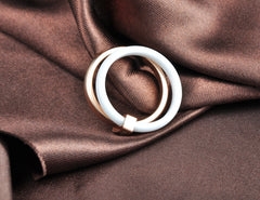 Environmental-Friendly Delicate Jewelry Ring Rose Gold Color Austrian Crystal White Ceramic Titanium Steel Wedding Rings