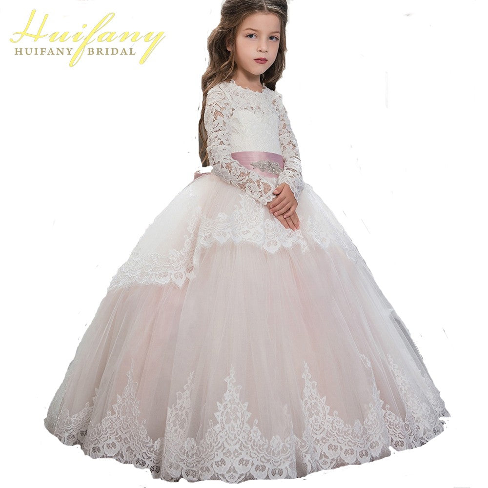 Light Pink Scoop Lace Long Sleeve Flower Girl Dress