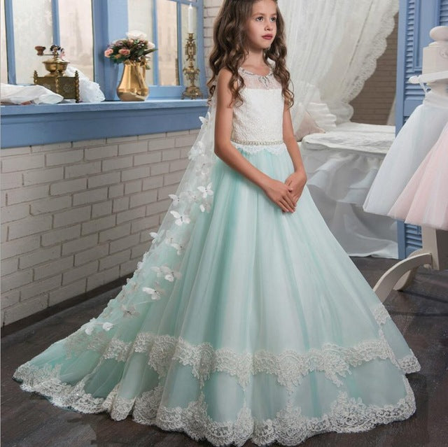 Princess Lace First Communion Dresses for Girls | Backless Flower Girl Dress with Butterfly Shawl Cape Bow
