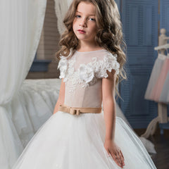 Flower Girl Dress | O-neck Lace Up Bow Sash Sleeveless Ball Gown Custom Made