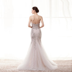 Elegant 2017 Sparkly Straps | Long Mermaid Evening dress | Sweetheart Neckline Crystal Beauty Pageant Gown
