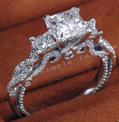 10K GF 925 Sterling Silver Ring Classic Princess-cut Three-stone Ring Jewelry Wedding Ring Size 5/6/7/8/9/10
