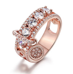 Swarovski Crystals Rose Gold or Silver Ring Dangle Charm  For Women Fashion 925 Jewelry Rings Rotatable Wedding Ring