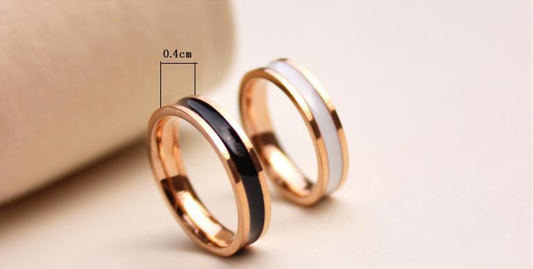 Simple Ceramic Couples Band Ring Titanium Steel Rose Gold Color Black or White Fashion Jewelry