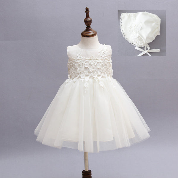 Baby Christening Baptism Gown Princess Birthday Dress Tutu Flower Girl Dress With Hat