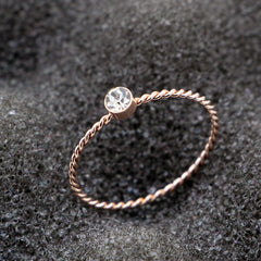 Rose Gold Ring Twist CZ Silver Plated