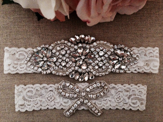 Bridal Garter | Ivory Couture Pearl and Crystal Rhinestone Garter with Toss Garter Set on Ivory Lace 2pcs /lot