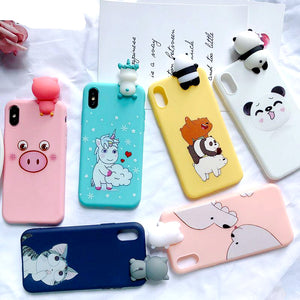 Coque mobile iPhone kawai  silicone licorne Chat Cochon iPhone 6 6S 7 8 Plus X XR XS Max - nooteo