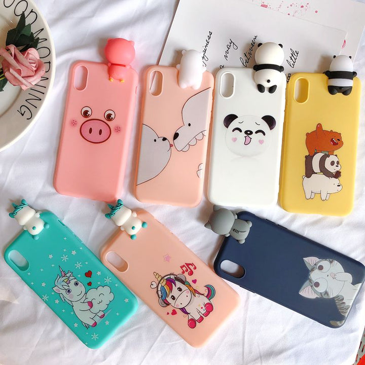 Coque mobile iPhone kawai  silicone licorne Chat Cochon iPhone 6 6S 7 8 Plus X XR XS Max