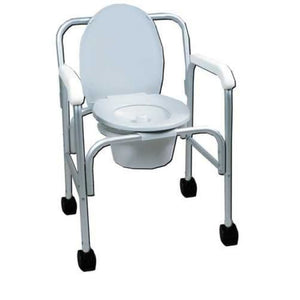 Aluminum Wheeled Commode W/12 Qt. Pail - Bedside Commodes