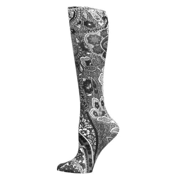 Blue Jay Fashion Socks (Pr) New Black Paisley 8-15Mmhg - Ladies Socks