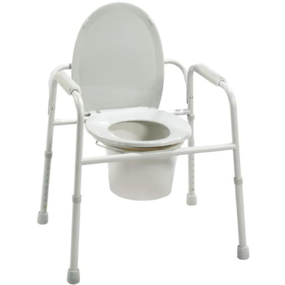 Commode 3-In-1 Deluxe Steel W/deep Seat Assembled - Bedside Commodes