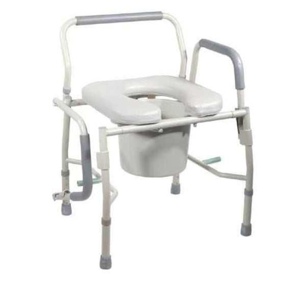 Commode Drop-Arm Kd W/padded Open-Front Seat Tool-Free - Bedside Commodes