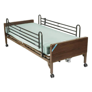 Drive Medical Delta Ultra Light Semi Electric Bed With Full Rails And Foam Mattress - Gym Equipment