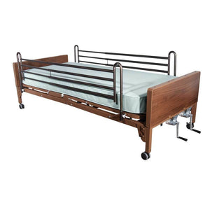 Drive Medical Multi Height Manual Hospital Bed With Full Rails And Therapeutic Support Mattress - Gym Equipment
