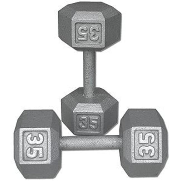 Dumbbell Steel Hexagonal 35 Pound - Dumbell Weights