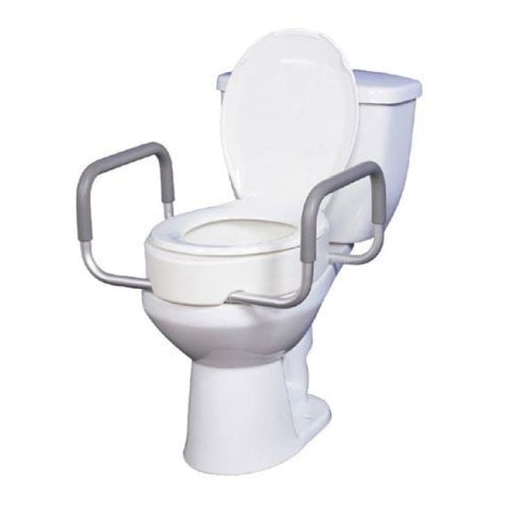 Elevated Toilet Seat W/arms For Elongated Toilets T/f - Raised Toilet Seat