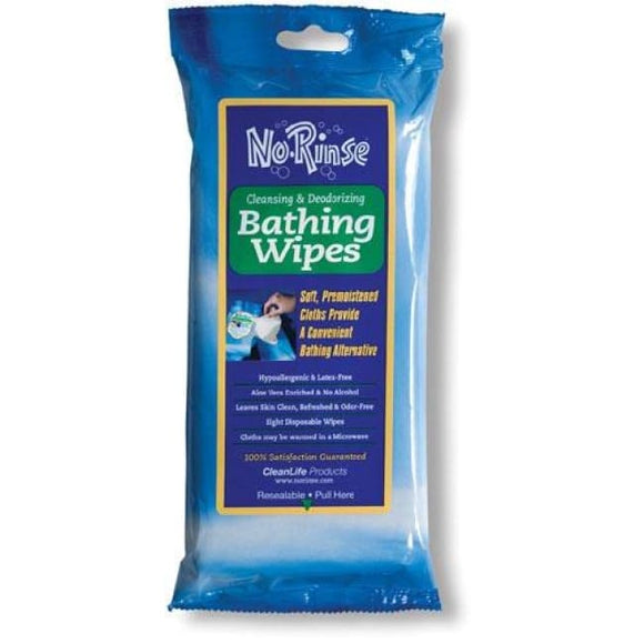 No Rinse Bathing Wipes Retail Package Pk/8 - Rinse Free Soap & Shampoo