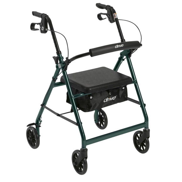 Rollator 4-Wheel With Pouch & Padded Seat Green - Drive - Rollators