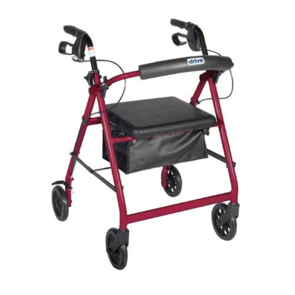 Rollator 4-Wheel With Pouch & Padded Seat Red - Drive - Rollators