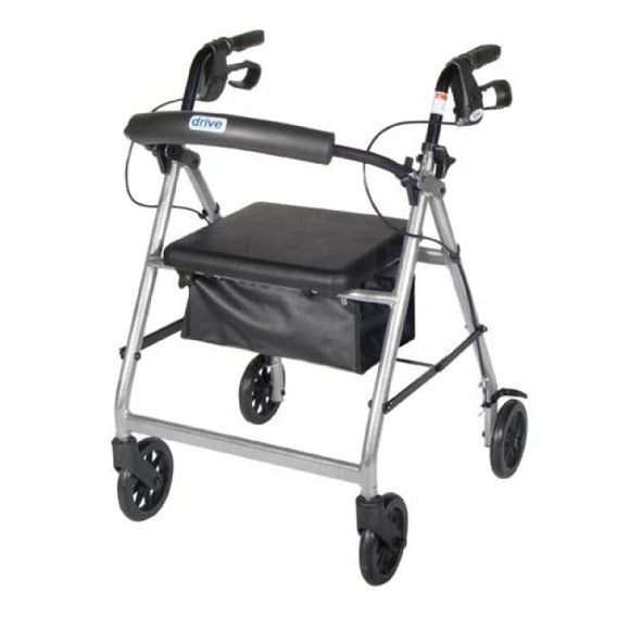 Rollator 4-Wheel With Pouch & Padded Seat Silver - Drive - Rollators