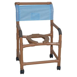 Shower Chair Wide Deluxe Pvc Wood-Tone - Bedside Commodes
