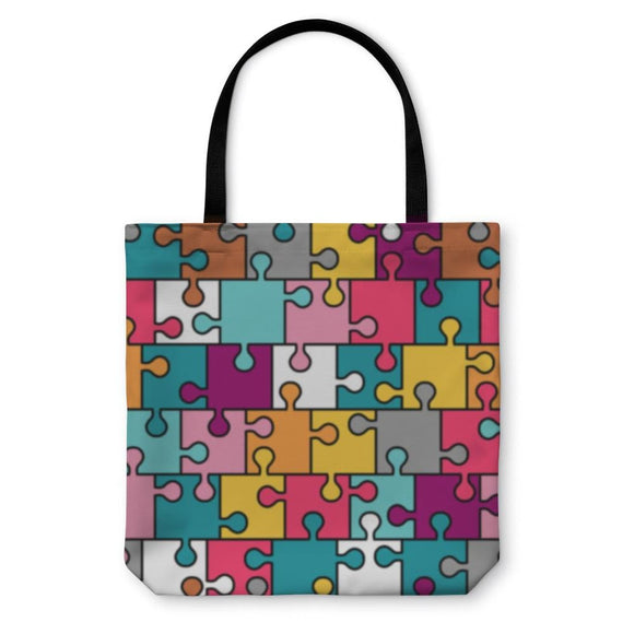 Tote Bag Colorful Puzzle Pattern - Tote Bag