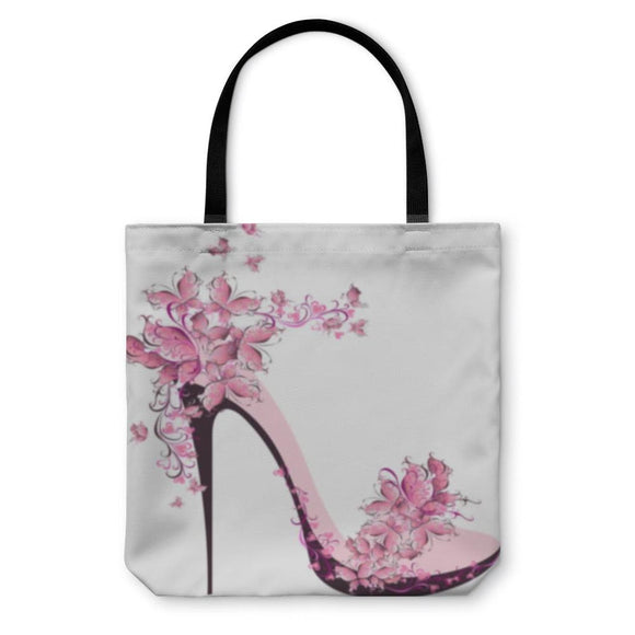 Tote Bag High Heel With Butterflies - Tote Bag