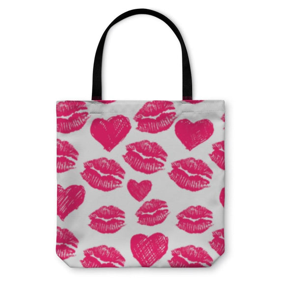 Tote Bag Lipsticks Prints And Hearts - Tote Bag