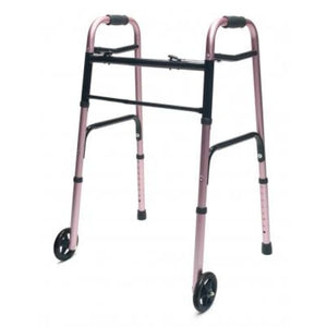Walker Adult W/5 Wheels Folding Pink Case Of 2 - Walkers - Two Button