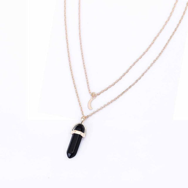 Natural stone moon choker gold necklace crystal pendant necklace for natural stone moon choker gold necklace crystal pendant necklace for women mozeypictures Choice Image