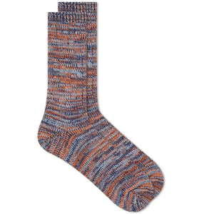5 COLOR MIX CREW SOCK - INDIGO