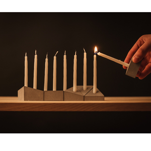 CONCRETE MENORAH - LIGHT GREY