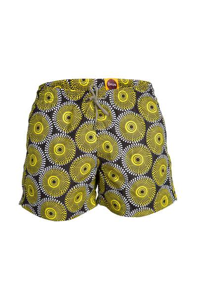 SWIM TRUNK - ILE BLACK YELLOW 5-INCH BOXERS