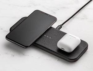 CATCH:2 DUAL WIRELESS LEATHER CHARGER - BLACK