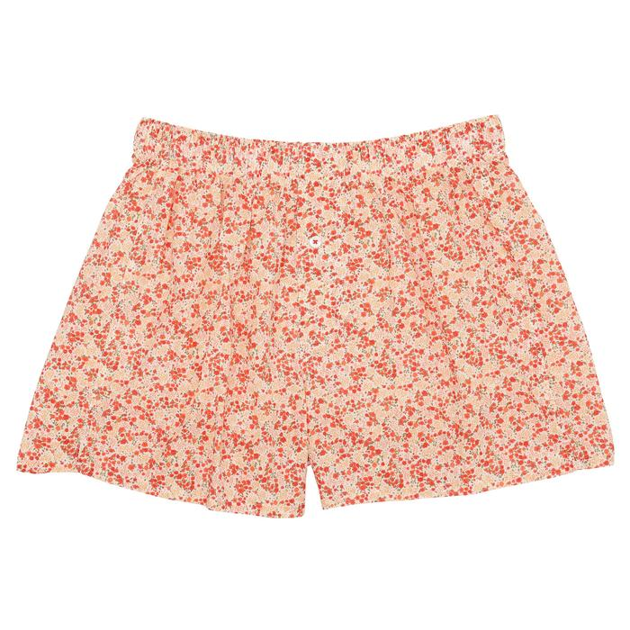 ORGANIC COTTON MICRO FLORAL BOXER - WHITE / LIGHT RED