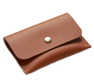 LEATHER CARD HOLDER - BROWN