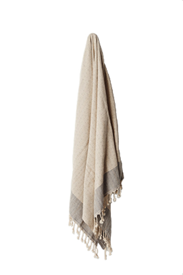 HEAVY WEAVE TURKISH TOWEL - NATURAL & GREY