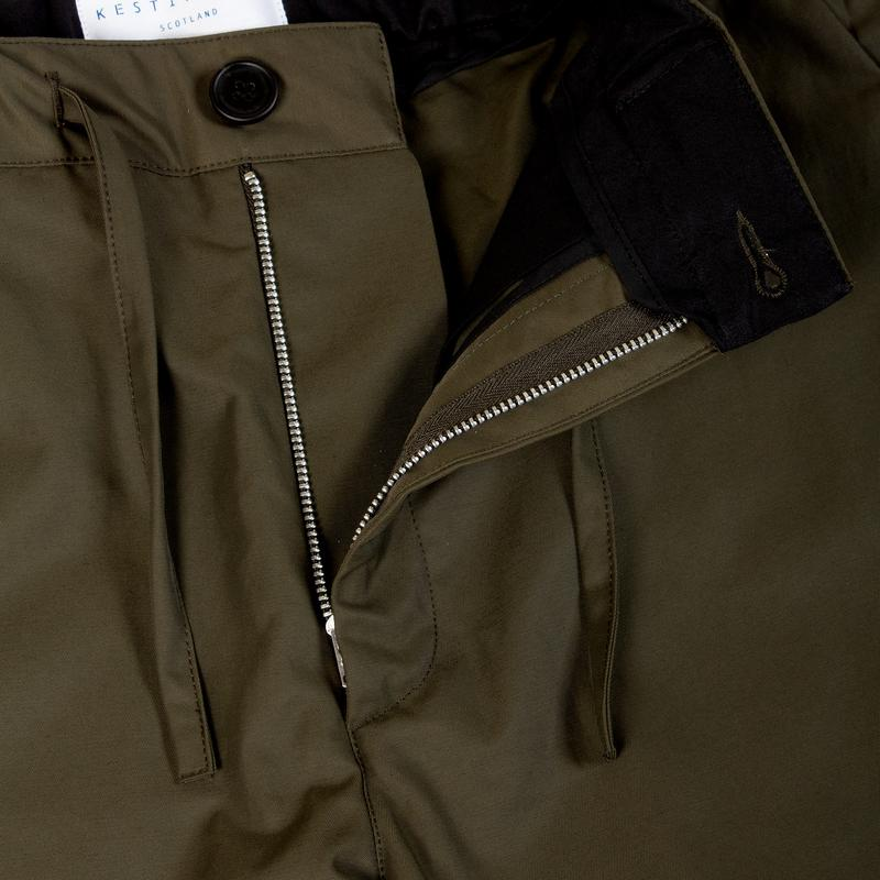 INVERNESS TROUSER - OLIVE WATER REPELLANT COTTON