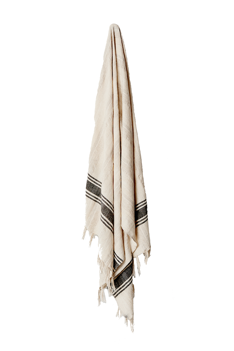 HOME & LOFT 5 STRIPE LINEN TURKISH TOWEL, NATURAL/BLACK