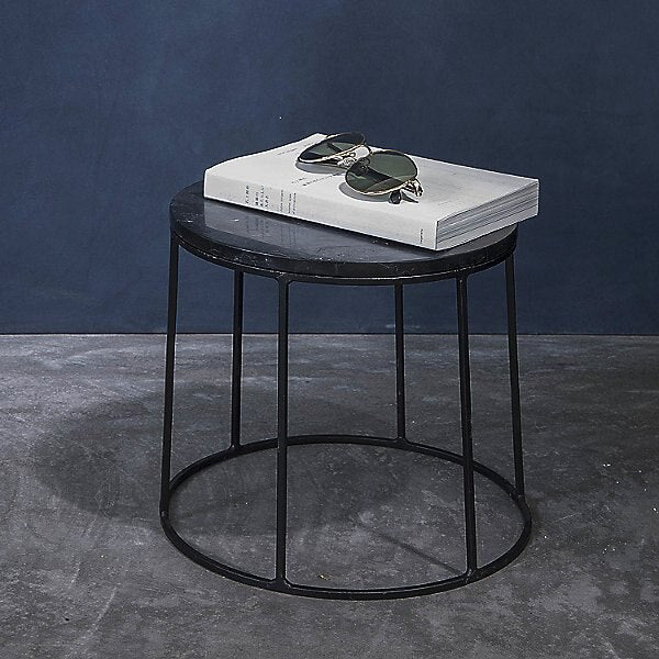 WIRE MARBLE TOP SIDE TABLE - SMALL