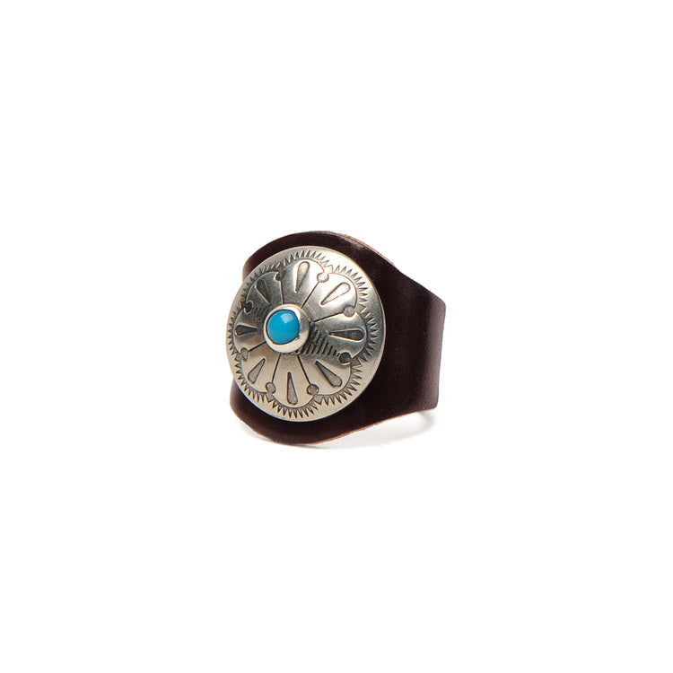 LEATHER RING WITH CONCHO - BROWN